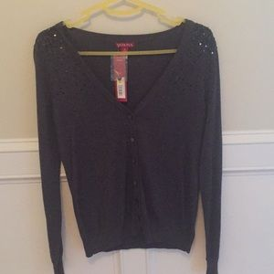 Button down cardigan with sequin accents